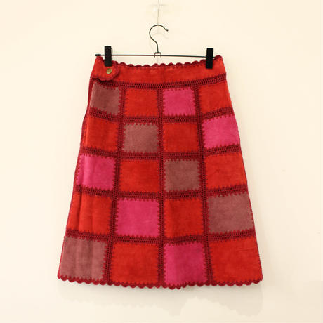 real leather patchwork skirt