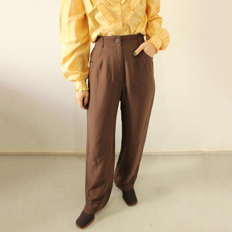 brown high-waist stretch pants