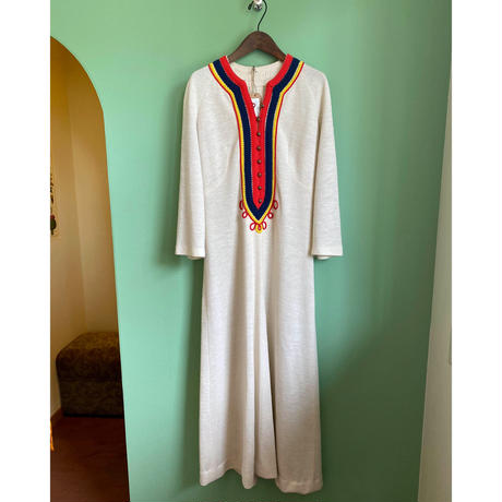embroidery long one-piece