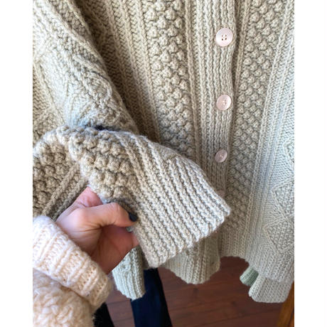 mint green cable cardigan