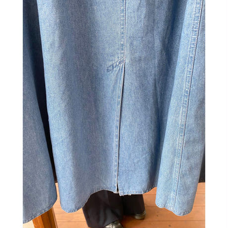 concho button denim long skirt