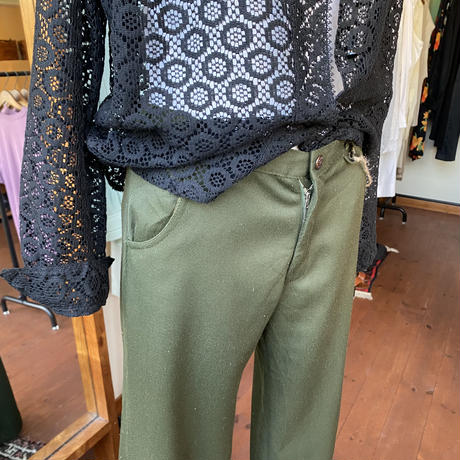 70s deep green flare pants