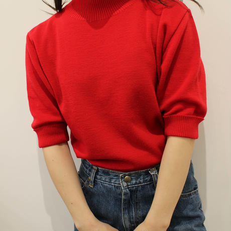 high neck red knit