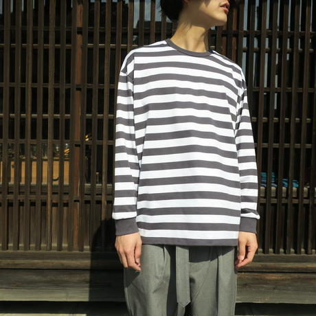 Graphpaper MEN Border L/S Tee WHITE×C.GRAY GU211-70145B