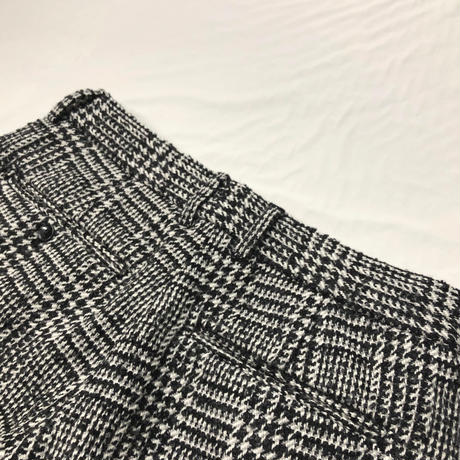 KICS DOCUMENT / KHONOROGICA TWEED GREN CHECK DOUBLE TUCK PANTS NAVY