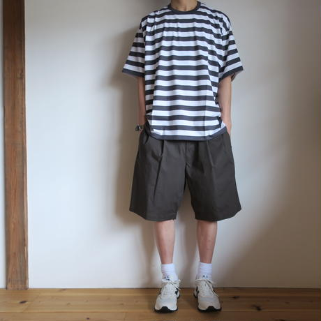 Graphpaper Border S/S Tee WHTxC.GRY