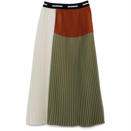 Graphpaper WOMEN Satin Pleats Skirt KHAKIGL 193-40036B