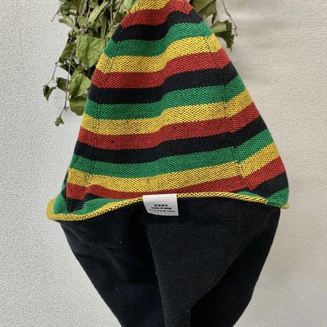 ラスタ レゲエ リバーシブル ツイード 織物  綿 大サイズ! フック2つ付 サウナハット ハンドメイド オリジナル商品 男女兼用 ゆったり