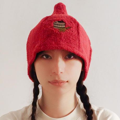 赤 サウナを愛でたい ブランド サウナ ハット 新品 Namu Tekstile タオル地 コットン 洗える Sauna Hat サ道 サウナイキタイ 男女兼用