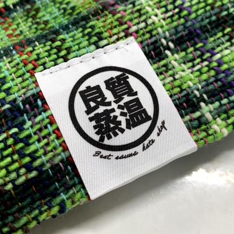 リバーシブル 織物 グリーン 綿 大サイズ! フック2つ付 サウナハット ハンドメイド オリジナル商品 男女兼用 ゆったり