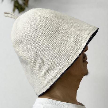 刺繍入り リバーシブル ローデニム素材 綿 大サイズ! フック2つ付 サウナハット ハンドメイド オリジナル商品 男女兼用 ゆったり
