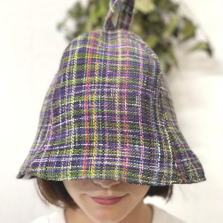 リバーシブル ツイード 織物 紫&緑 綿 大サイズ! フック2つ付 サウナハット ハンドメイド オリジナル商品 男女兼用 ゆったり