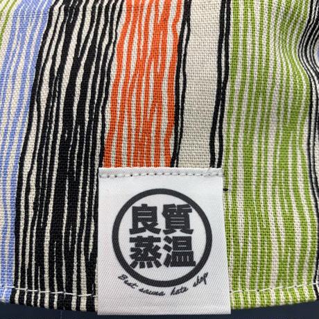 リバーシブル オレンジ 手書ストライプ 綿 大サイズ! フック2つ付 サウナハット ハンドメイド オリジナル商品 男女兼用 ゆったり