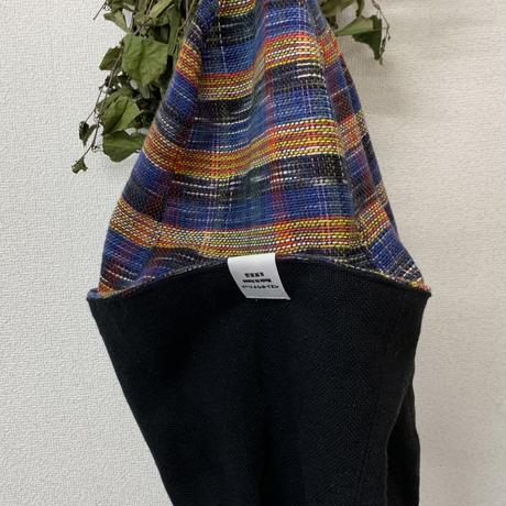 リバーシブル ツイード 織物 青&黄色 チェック 綿 大サイズ! フック2つ付 サウナハット ハンドメイド オリジナル商品 男女兼用 ゆったり