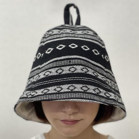 リバーシブル ツイード 織物 黒 メキシカン 綿 大サイズ! フック2つ付 サウナハット ハンドメイド オリジナル商品 男女兼用 ゆったり