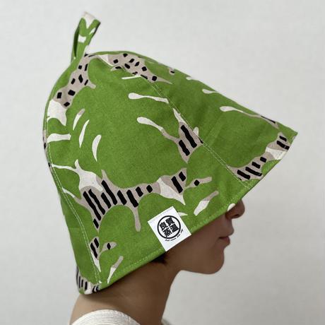 リバーシブル モンステラ緑 綿 大サイズ! フック2つ付 サウナハット ハンドメイド オリジナル商品 男女兼用 ゆったり