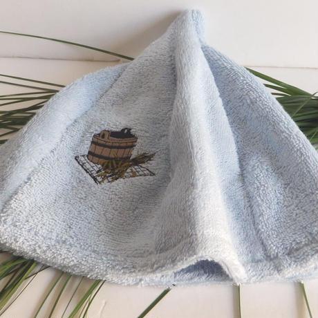 サウナを愛でたい ライトブルー 送料 無料 サウナ ハット 新品 タオル地 コットン 洗える Sauna Hat サ道 サウナイキタイ 男女兼用