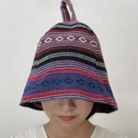 リバーシブル ツイード 織物 New メキシカン 綿 大サイズ! フック2つ付 サウナハット ハンドメイド オリジナル商品 男女兼用 ゆったり