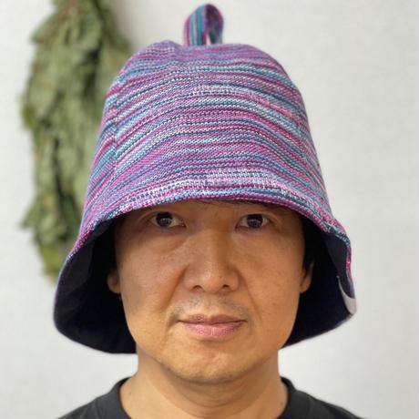 リバーシブル ツイード 織物 ピンク 綿 大サイズ! フック2つ付 サウナハット ハンドメイド オリジナル商品 男女兼用 ゆったり
