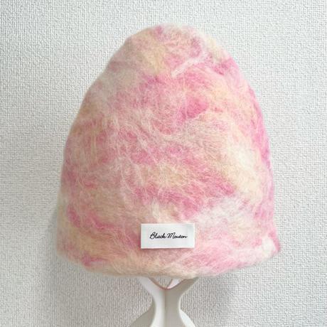 羊毛 1点物  ハンドメイド< blackmouton felt > ゆったりサイズ フェルトサウナハット ピンクカモフラージュ