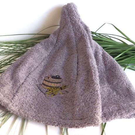 サウナを愛でたい グレイ 送料 無料 サウナ ハット 新品 タオル地 コットン 洗える Sauna Hat サ道 サウナイキタイ 男女兼用