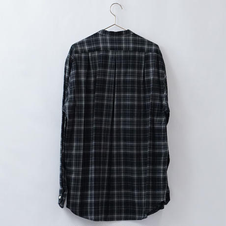 five tuck band collar shirts-BLACK
