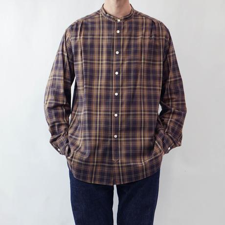 five tuck band collar shirts-BROWN