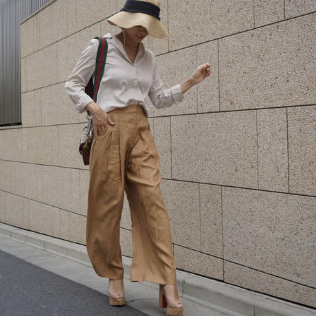 LINEN TACK WIDE PANTS【LH21S004】