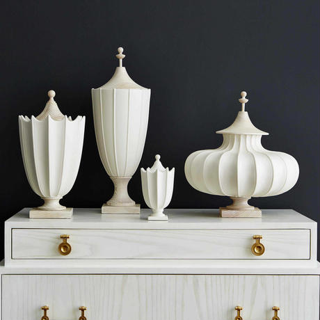 0420-25 Crenulated Mini Urn - Matte White