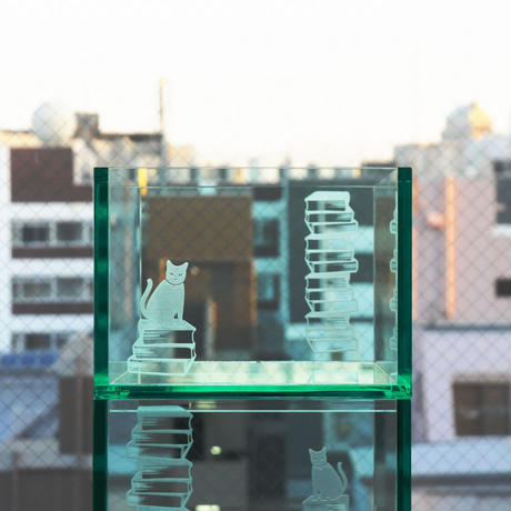 BOOK CONTAINER HALF ACRYLIC  GLASS COLOR