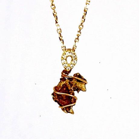 イミラックパラサイト隕石ナゲット× 天然ダイヤモンド × K18 ネックレス(L)