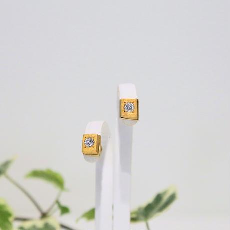 ギベオン&天然ダイヤモンド18金ピアス ペア