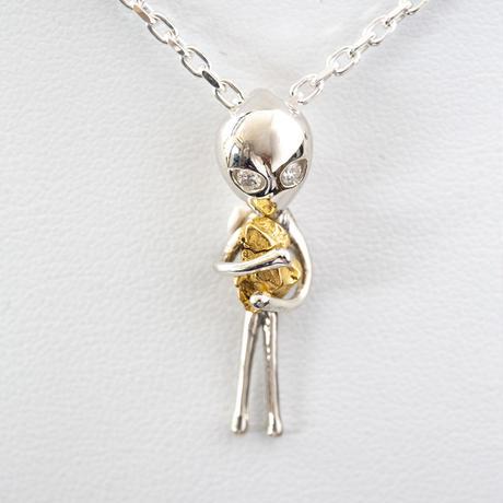 宇宙に帰りたいが開眼した宇宙人ネックレス  SV925 目にダイヤモンド