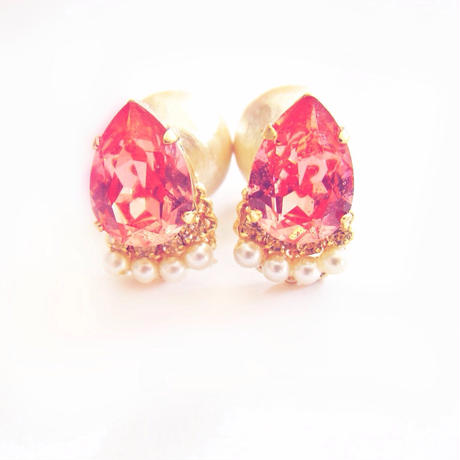 Bijouest petit piece / peach red & Pearl