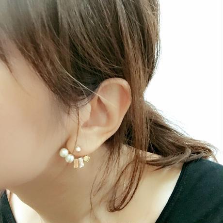 耳そうピアス/イヤリング  -square- 【ゴールド×クリスタル】