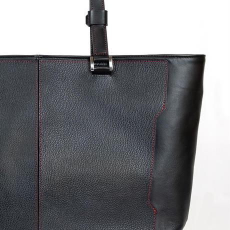 Leather ToteBag Black-Red Stitch