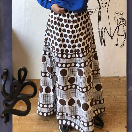 lady's dot × plaid pattern maxi length skirt