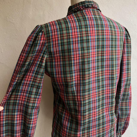 lady's plaid  pattern frill design puff sleeve blouse