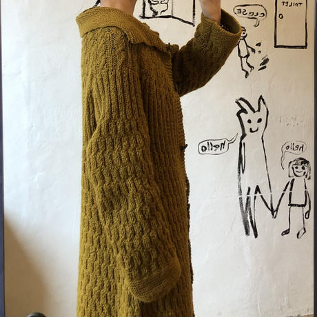 lady's mustard yellow long knit cardigan
