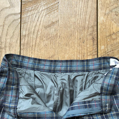 Men's check tuck wide trousers(W32inch)