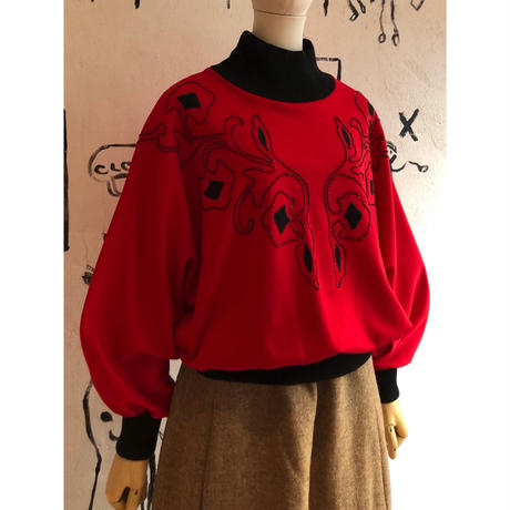 lady's code embroidery design dolman sleeve top
