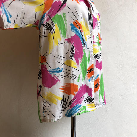 """lady's """"DIANE VON FURSTENBERG"""" colorful paint pattern blouse"""