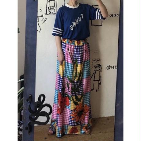 lady's plaid × floral pattern skirt