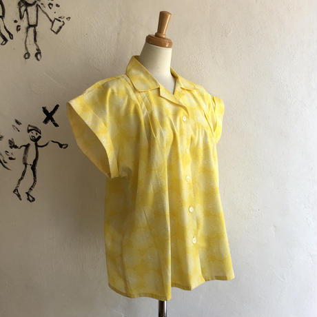lady's yellow color floral pattern blouse