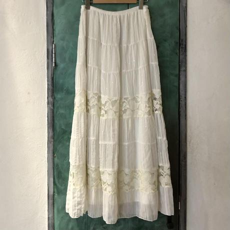 lady's white color sequins & lace  design long skirt