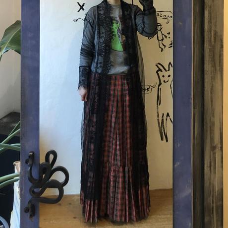 lady's black lace gown