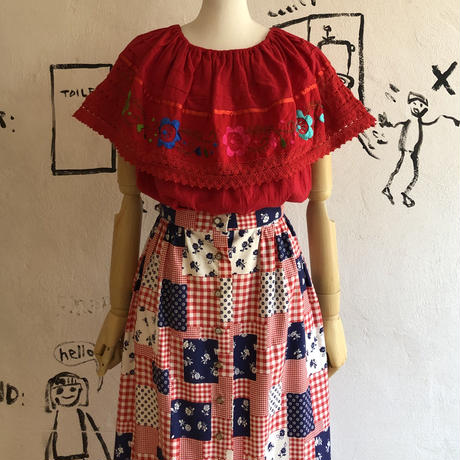 lady's flower&heart motif embroidery tops