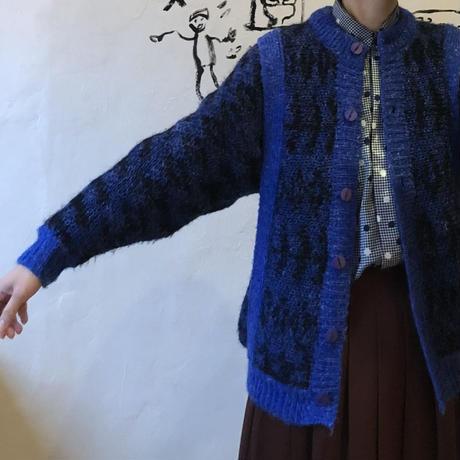 lady's blue × black mix knit cardigan