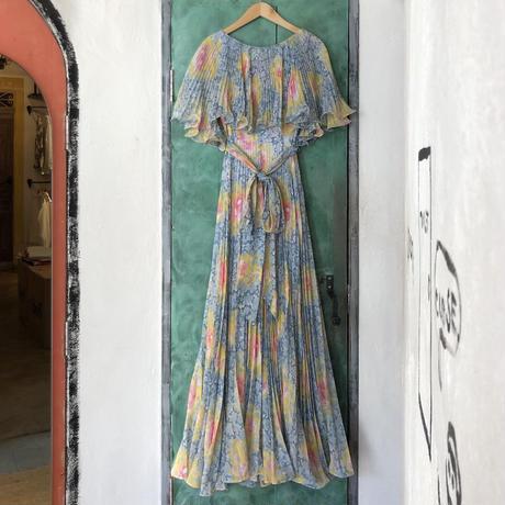 lady's 1970's vintage floral pattern maxi length dress