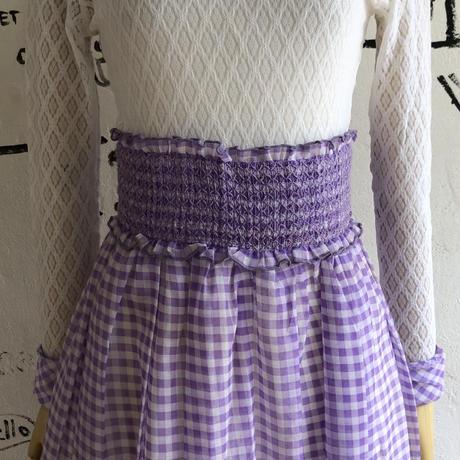 lady's 1970's purple gingham check maxi length dress
